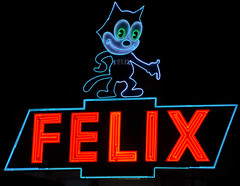 felix (pbo31) Tags: california longexposure red black color night cat dark la losangeles lowlight nikon october neon felix neonsign southerncalifornia dealership dockweiler 2011 d700