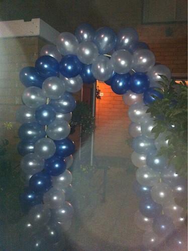 Ballonboog 5m Blauw Lichtblauw Wit