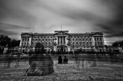 Ghosts Of Buckingham Palace (simon.anderson) Tags: city uk people blackandwhite london tourism car architecture geotagged mono nikon moody royal dramatic sigma palace tourists queen buckinghampalace le ghosts 1020 luxury royalty monarchy apparition royalfamily ghosting otherworldly nd110 d300s