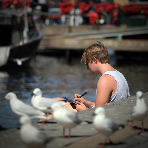 reading book at lake port