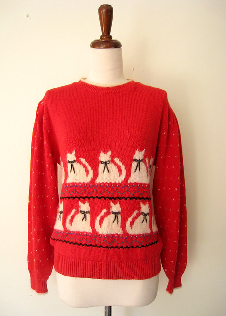 Fuzzy Kitties Red Puff Sleeve Sweater, vintage 80s
