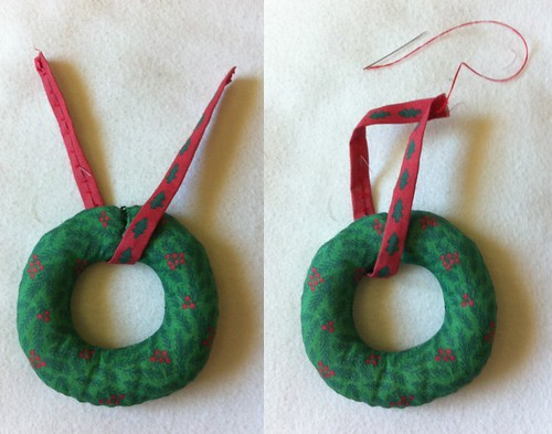 Mini Wreath Ornament construction example part 5