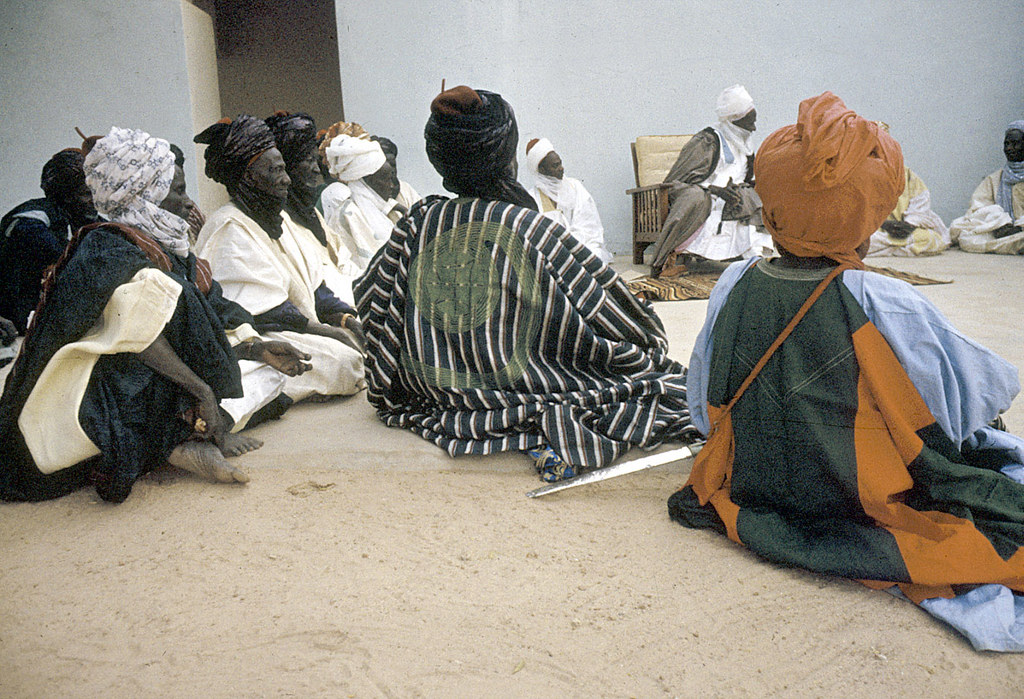 Elite bodyguards of the Emir of Katsina attending a morning greeting ceremony, Katsina, Nigeria. [slide] 1959. eepa_01380