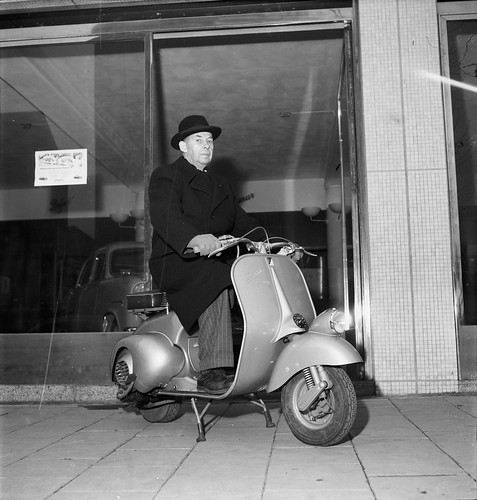 Man on Vespa in Stockholm 1952 by Stockholm Transport Museum Commons