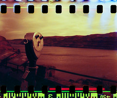For distant views (yarnzombie) Tags: camera vacation film 35mm river diy washington fuji columbia holes september 127 400 gorge viewer wards sprocket develop xtra c41 sprocketholes 2011 unicolor redscale