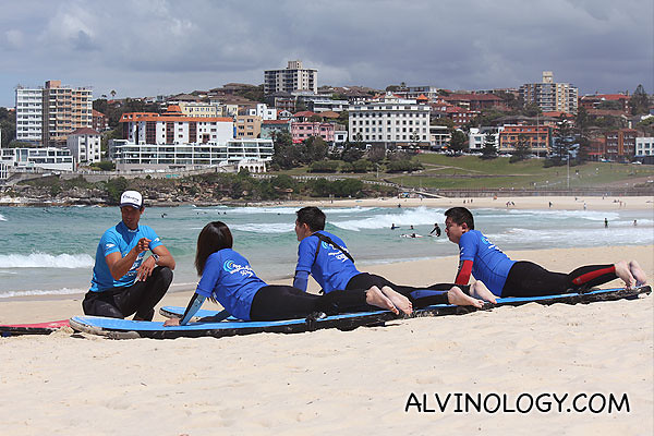 Learning how to balance on the surfboard (all surfing images provided by Let's Go Surfing)