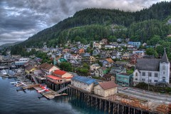 Ketchikan, Alaska (Thad Roan - Bridgepix) Tags: cruise church water alaska architecture clouds port plane harbor photo dock image picture wharf hdr seaplane ketchikan facebook floatplane 201106