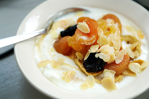 Warm dried fruit salad with honey yoghurt