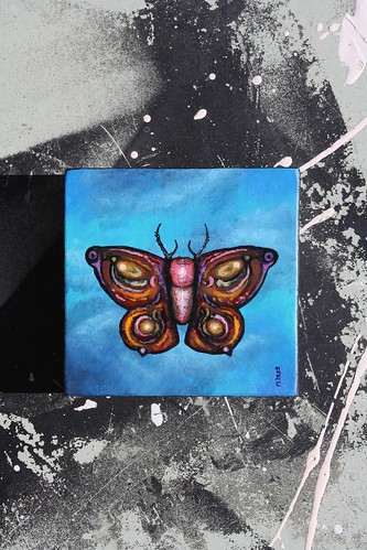 Moth Painting on Wood