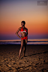 100 Strangers : TEMI on the beach! (dkfx photography) Tags: sunset woman beach female sunrise model ocf oceancity swimsuit diffuser tamron2875f28 oceancitymaryland offcameraflash stofendiffuser yongnuo 5dmarkii 5dmk2 yn460ii