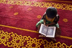 Muslim child reading the Qur'an