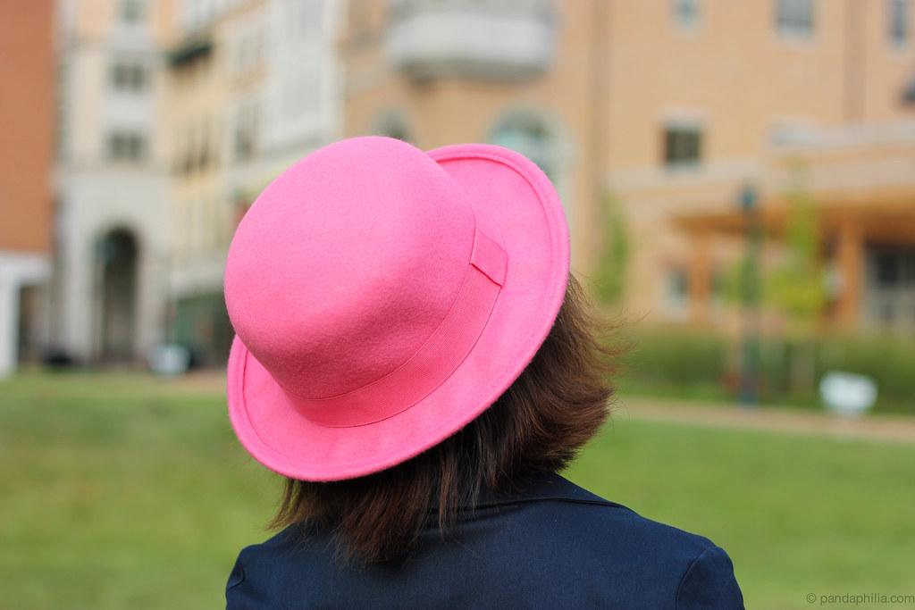 pink bowler hat