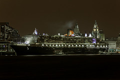 Queen Mary 2 (Brian Sayle) Tags: ocean nightphotography england night port liverpool river dark boat dock lowlight ship darkness queenmary maritime 7d handheld queenmary2 liner oceanliner merseyside flagship rivermersey cunardline queenmaryship rmsqueenmary2 eos7d canoneos7d canon7d