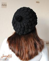 Black pompom beret