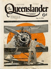 Illustrated front cover from The Queenslander, April 3, 1930 (State Library of Queensland, Australia) Tags: newspapers drawings propellers statelibraryofqueensland biplanes wao thequeenslander periodicalillustrations aeroplaneengines