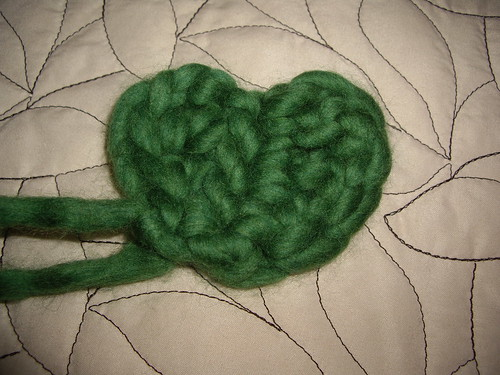 SomeBunnysLove's crocheted heart out of Twinkle Soft Chunky in green