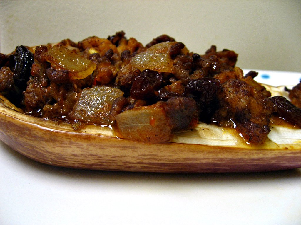 Picadillo filled eggplant boat