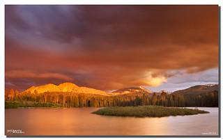 Thunderstorm over Lasse Peak, Manzanita Lake, Lassen NP, CA