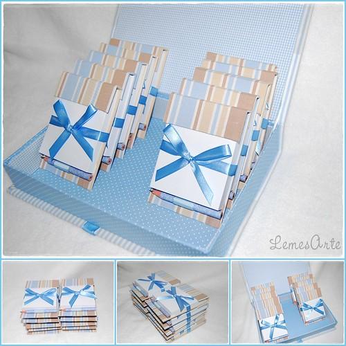 Opção marrom e azul com mini lapís by LEME´S ARTE / By Helenita Leme