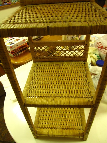 Up-cycled project, wicker shelf