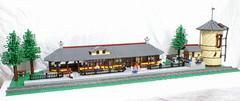 Texas State Railroad Palestine Depot (SavaTheAggie) Tags: railroad tower water station train woods track texas lego state diesel palestine engine rail trains steam passengers east rails depot locomotive passenger piney tsrr