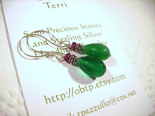 Emerald Green Onyx & Garnet Earrings by OBTP-Jewelry