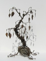 Twisted Barbed Wire Tree Sculpture with Rusty Metal Leaves (The Dusty Raven Gallery) Tags: original sculpture art dan wire montana artist unusual creator recycle barbed twisted reuse reclaim wimsical twistedwire upcycle westernart montanaart barbedwiretree thedustyraven dantowell thedustyravengallery vintagebarbedwire