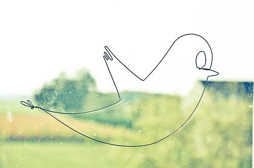 Twitter Bird, en fil de fer
