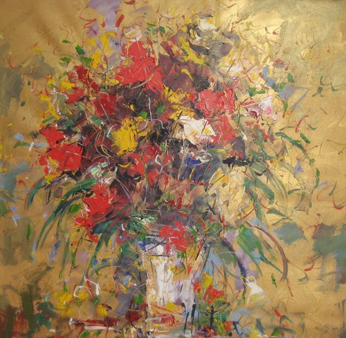 Golden Flowers - Paintings Original