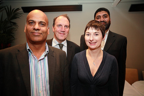 Caroline Pidgeon and Simon Hughes MP, with local campaigners Mahmood Faiz and Suleman Ahmed