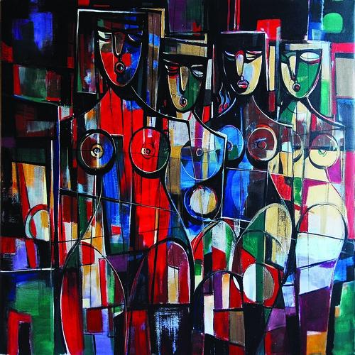 La Fiesta en Gorliz - Painting - Cubism