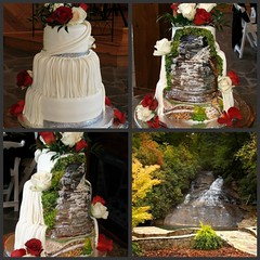 Wedding Cake at Chota Falls (EForkey (formerly EB Cakes)) Tags: ruffles weddingcake swags fondant rabuncountygeorgia chotafalls toccoageorgia paintedfondant ebcakes waterfallweddingcake greciancake