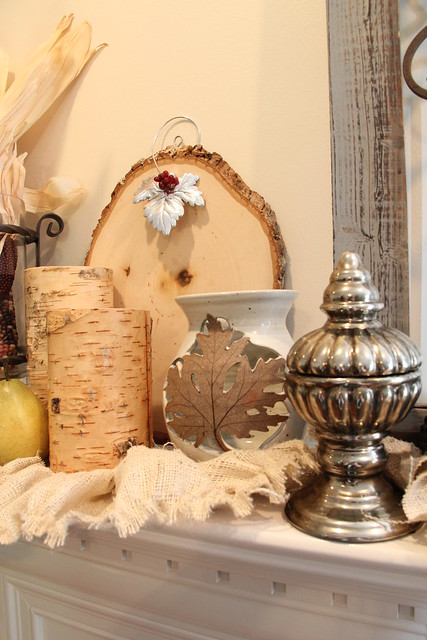Fall mantel decorations with ruffled burlap garland and alewine pottery leave vase