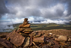 CAIRN, CORN DU, BRECON BEACONS, WALES. (IMAGES OF WALES.... (TIMWOOD)) Tags: wood uk sky mist mountains green history grass rock misty southwales wales clouds countryside tim scenery rocks flickr gallery cloudy top sony south hill www historic breconbeacons hills valley views summit com welsh cairns alpha brecon lowclouds cairn hilltop treck penyfan cloudysky rockpile corndu a700 hillsmountains colorphotoaward wwwtimwoodgallerycom