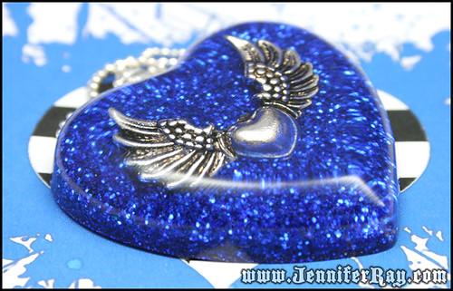 Winged Heart - Blue Glitter Resin Heart Pendant by JenniferRay.com