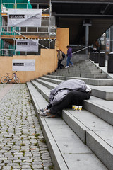 Sleeping (4) (Magne M) Tags: sleeping man station oslo norway stairs sleep central social drug uncomfortable oslos addict abuse socialproblems sleepingseries