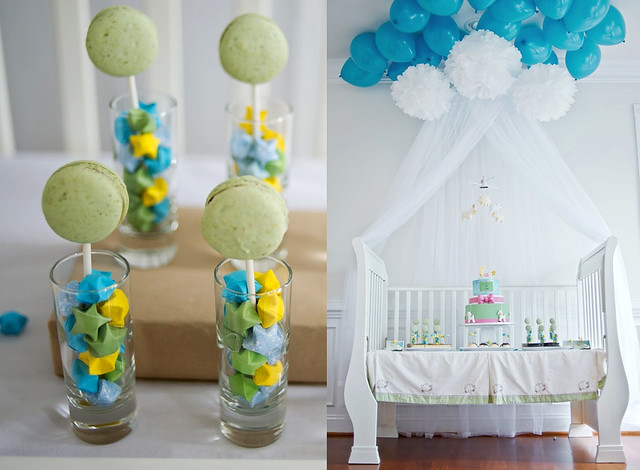 Pistachio Macaron Pops for Lullaby Baby Shower