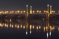 (Brenna Percy) Tags: bridge light reflection water night dark massachusetts springfield memorialbridge