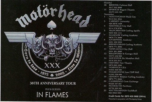 Oct-Nov 2005 Motorhead In-Flames Europe Tour Ad