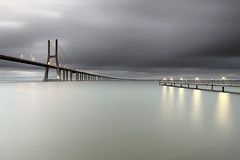 Peaceful Sight (CResende) Tags: longexposure morning bridge portugal river lights cross lisboa smooth tranquility calm le tejo contemplation parqueexpo cresende