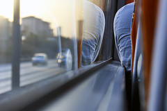 Reflection (redaleka) Tags: road street trip travel blue vacation reflection bus cars window glass shirt turkey moving chair focus different view angle opposite bokeh seat istanbul move blouse traveller traveling threehundredsixty