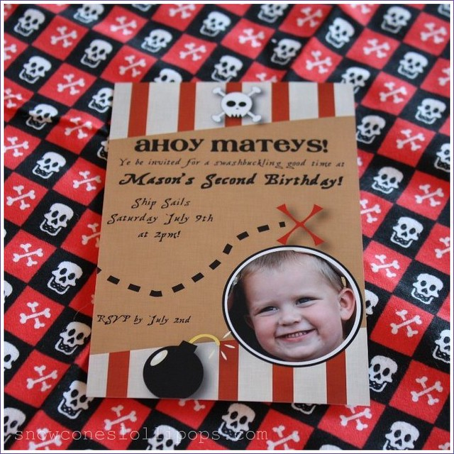 pirate party photo invitation