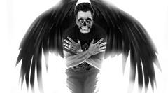 Resistiendo (carlosolmedillas) Tags: black blanco angel photoshop contraluz negro autoretrato alas terror alado tenebroso lgrubre