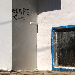 Central coffe in Aljustrel (jovidoes) Tags: blue white muro art blanco portugal caf wall europa europe gallery photographer shadows top central coffe photostream cartel seal ftima finearts indicador sellection jovidoes joaquinvicenteespilluch joaquinespi joaquinespilluch