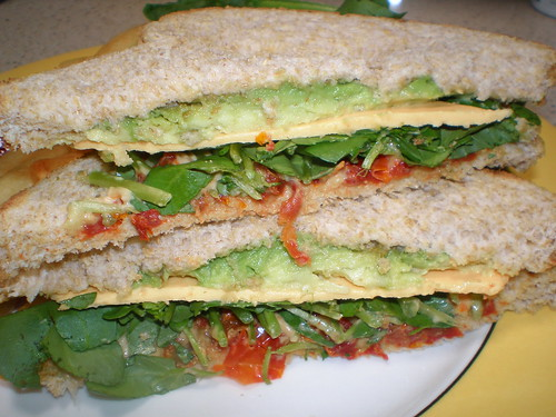 Avocado and Watercress sandwich with Dried Tomato Mayo