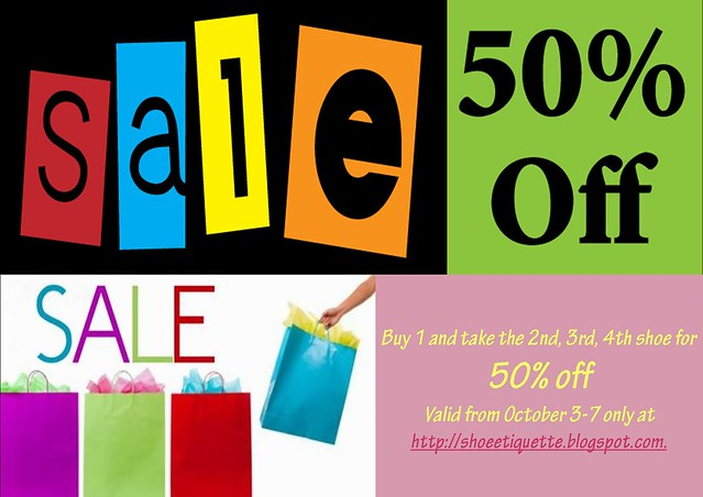 rainy day sale at shoe etiquette, 50% off, everything must go shoe sale