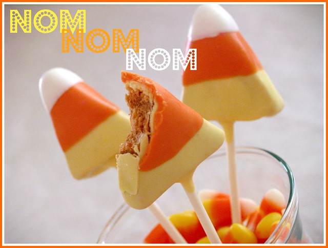 halloween food gifts: candy corn butterfinger pops