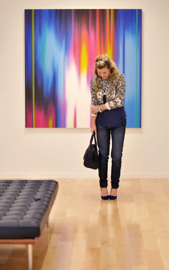 at the art gallery - jeans and a floral cropped blazer