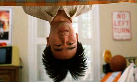 Gene Wantanabe as Long Duk Dong, hanging upside down in John Hughes' Sixteen Candles.