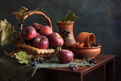 A Wider Horizon (panga_ua) Tags: autumn stilllife art fall fruits composition canon daylight october ceramics basket artistic availablelight ukraine pastels grapes arrangement tabletop constellation bodegon fallenleaves naturemorte artisticphotography naturamorta artphotography sharpfocus tableset redapples witheredleaves nataliepanga stunningphotogpin flaxencloth quintessentialoctoberimage awiderhorizon
